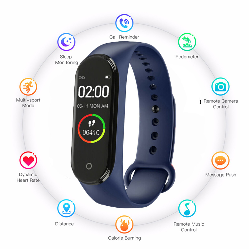 Portable Fashion Bluetooth New Smart M4 Watch Men And Women Tracker Heart Rate Monitor Health Bracelet For Android IOS