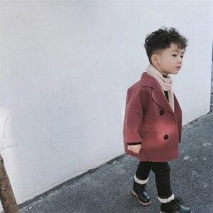 Image 5 - جواكت شتوية الأولاد الصلبة الصوف مزدوجة الصدر الطفل الصبي خندق معطف التلبيب 3 4 5 6 7 Y الاطفال ملابس خارجية معاطف لصبي سترة واقية