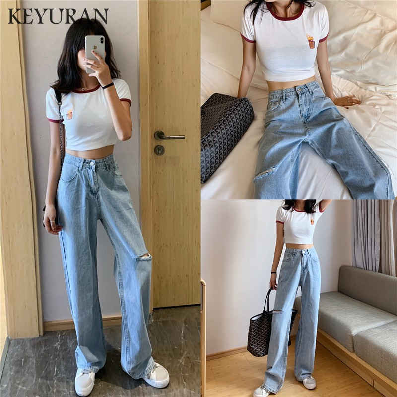 2019 New Arrival High Waist Women's Fashion Loose Hole Denim Mopping Pants Casual Vintage Wide Leg  Jeans Trousers Plus Size 4XL
