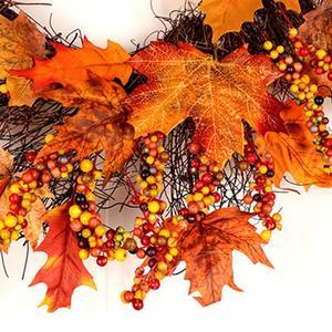 Image 3 - Navidad Acción de Gracias otoño Color guirnalda ventana restaurante hogar hoja de arce decoración adornos vacaciones colgante corona