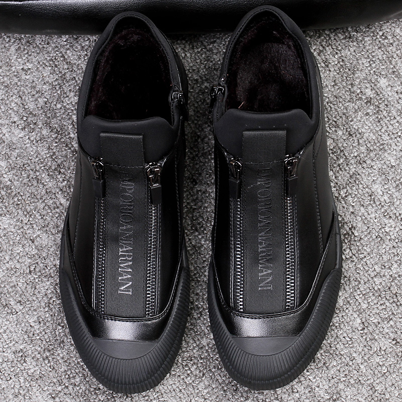 Winter Fur Leather Sneakers Mens Luxury Shoes Men Designer Black Shoe 2018 Men Fashion Shoe Zipper Flats Slip On Casual Sneakers