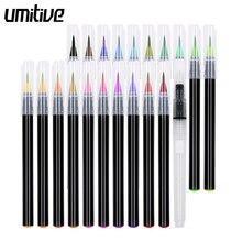 Umitive 20 Color Watercolor Marker pens Soft Brush Pen Set Premium Painting watercolor brush pen Manga Painting Art Supplies все цены