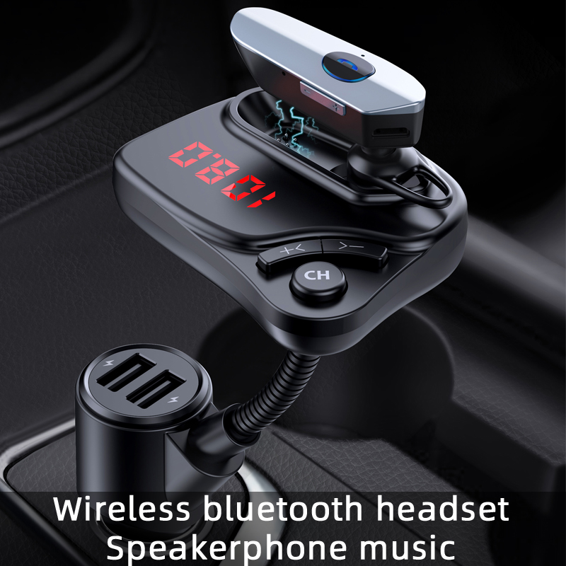 CDEN Wireless Bluetooth Headset FM Transmitter Car mp3 Player Bluetooth Car Kit Call TF Memory Card Music USB Car Charger