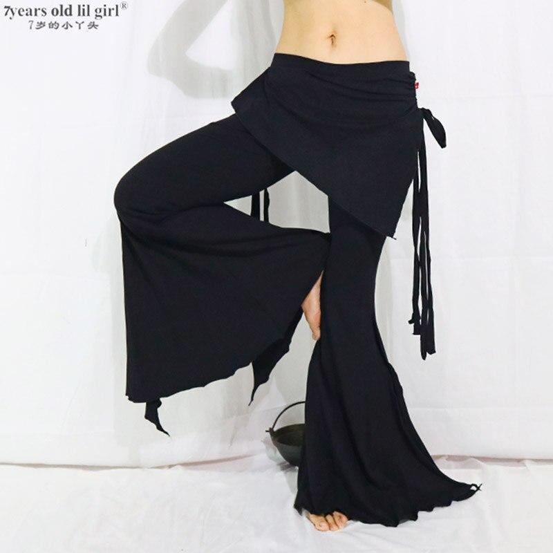 Tribal Fusion Belly Dance Pants Lycra Cotton Tribal Belly Dance Flare Pants With Skirt BMM11-15