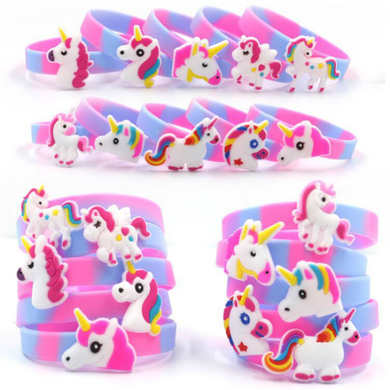 10pcs Wedding Gifts for Guests Rainbow Unicorn Party Rubber Bangle Bracelet Back to school Baby Shower Decorations Party Favors