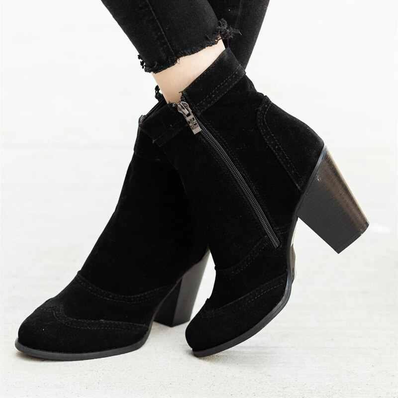 LOOZYKIT รองเท้าผู้หญิงรองเท้าส้นสูง Slip ฤดูหนาวถุงเท้ายืดรองเท้า elegant Square รองเท้าส้นสูงรองเท้าผู้หญิง Plus ขนาด