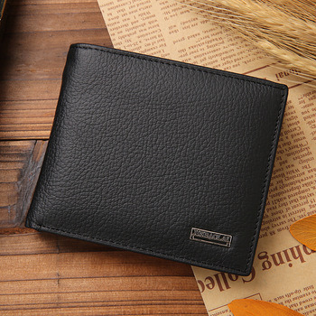 100% Genuine Leather Men Wallets Premium Product Real Cowhide Wallets for Man Short Black Walet Portefeuille Homme 8