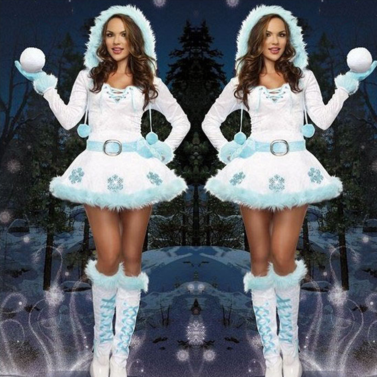 2018 New Adult Xmas Costumes Dreamy Snow Maiden Sexy Christmas Santas Dress Women Holiday Party Fancy Costumes