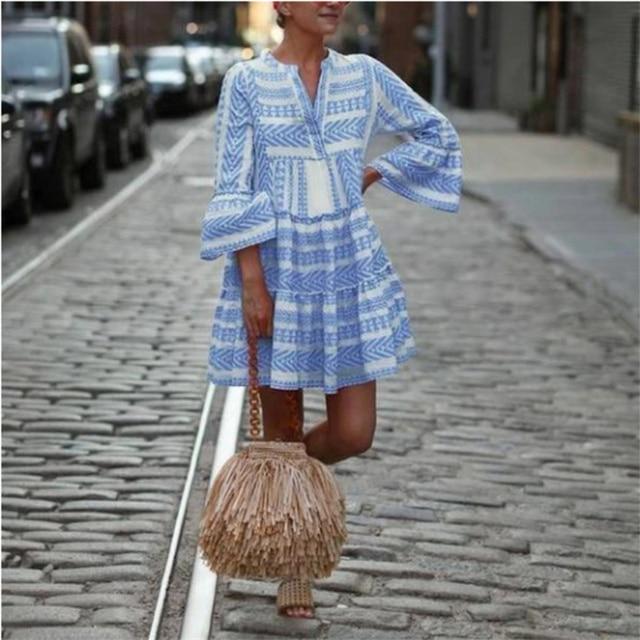 Women Summer Boho Mini Striped Printing Dress 2021 Flare Sleeve Flowy Beach Party Plus Size Fashion Casual V-Neck Loose Dresses 2