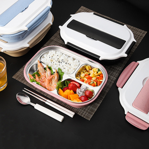 Lunch Bento Box Tiffin 304 Stainless Steel 4 Grids Water Food Insulation Portable LunchBox for Kids Picnic Office Worker School