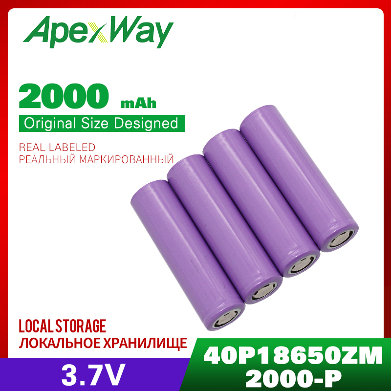 [ Full Capcity ] 3.7V 2000mAh <font><b>40PCS</b></font> <font><b>18650</b></font> Rechargeable Battery Purple for the assembly mobile power, notebook batteries, etc. image