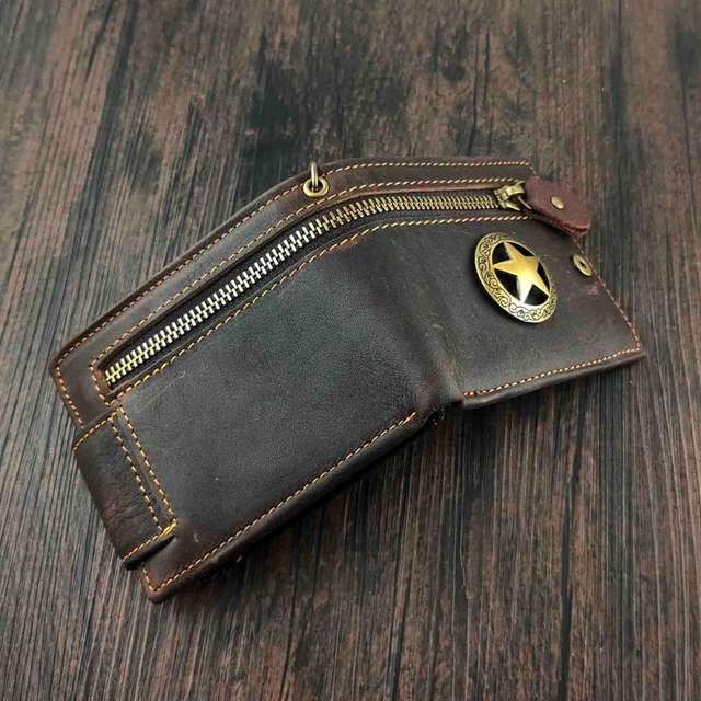 STAR GENUINE LEATHER WALLET WITH CHAIN
