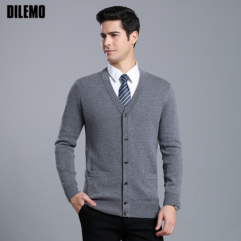2020 Thick New Fashion Brand Sweaters Men Cardigan High-quality Slim Fit Jumpers Knitwear V Neck Winter Casual Clothing Male