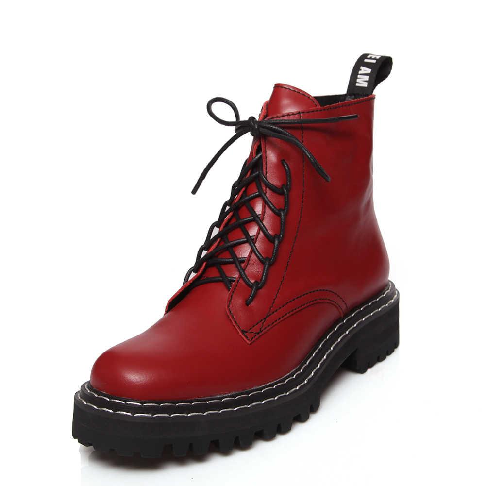Kadın marka 2019 büyük boy 43 hakiki deri motosiklet çizmeler tıknaz topuklu yarım çizmeler kadın ayakkabılar günlük ayakkabılar kadın çizme