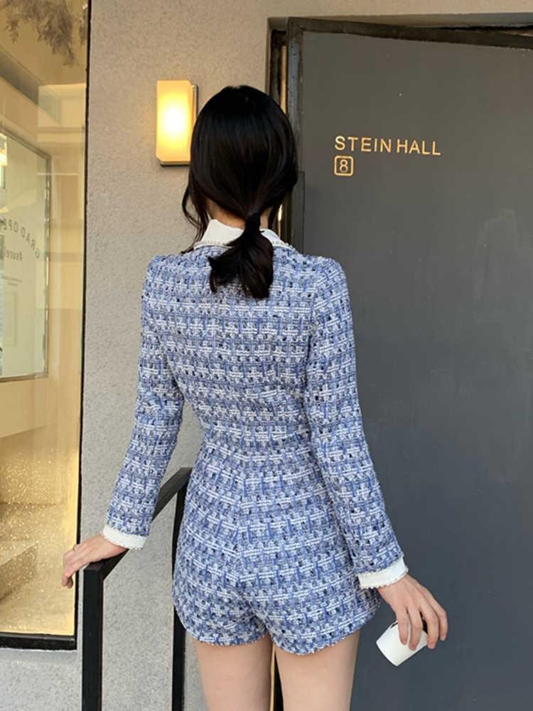 Zware ambachten contrast kleur revers diamonds kleine geur wind tweed jumpsuit dames lente mode temperament jumpsuit rok