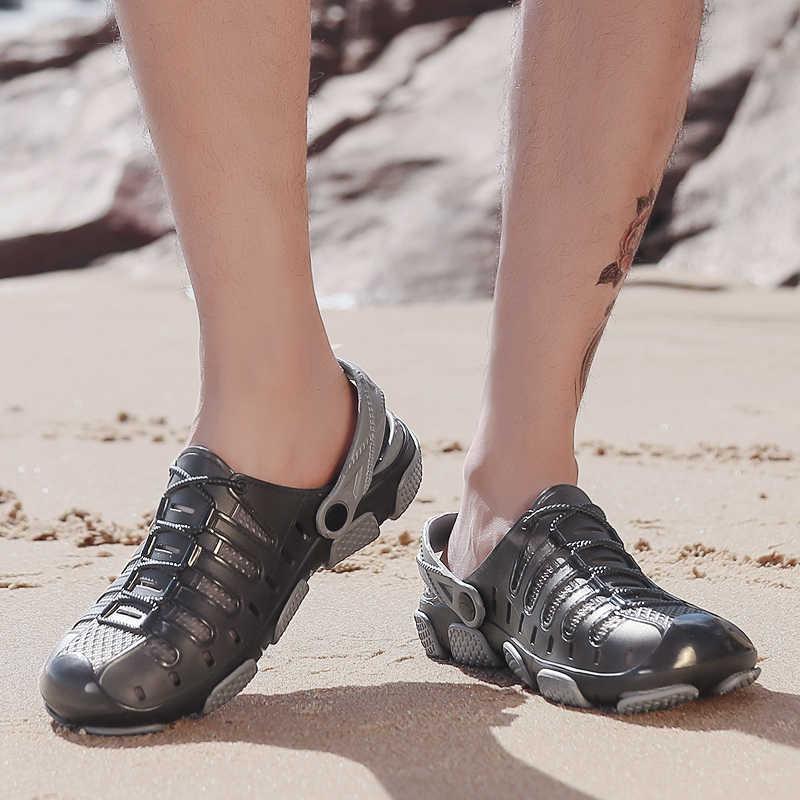 Nuevas sandalias para hombre, zapatillas con agujeros, sandalias de playa, zuecos de mulas, sandalias de jardín, zapatos para hombres, zapatillas de playa transpirables