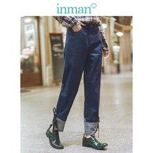 INMAN 2019 otoño nueva llegada minimalismo recto todos los empalmes de encaje literario Retro moda mujer Jeans