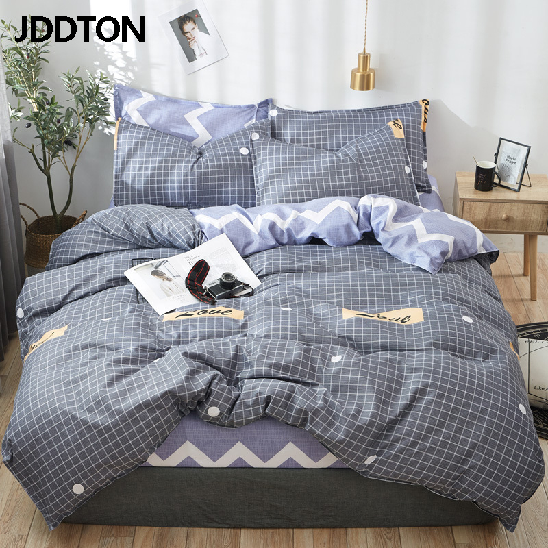 JDDTON Classical Style Bedding Set AB Side Colorful Pattern Bed Set Duvet Cover Sheet Pillowcase Set Fashion Home Bedding BE038
