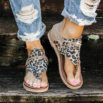 Summer Women Sandals Flock Platform Animal Print Flat Heel Peep Toe Fashion Casual Beach Female Ladies Shoes Zapatos De Mujer Uncategorized Ladies Shoes Women's Fashion