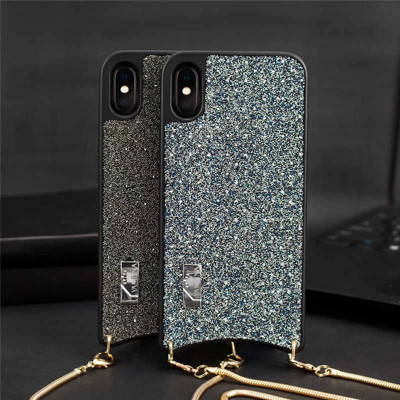 Mewah Glitter Terang Manik-manik dengan Tali Panjang Rantai Telepon Kasus untuk iPhone 11 Pro XS Max XR X 7 6S 6 7 Plus Bling Crossbody Menutupi