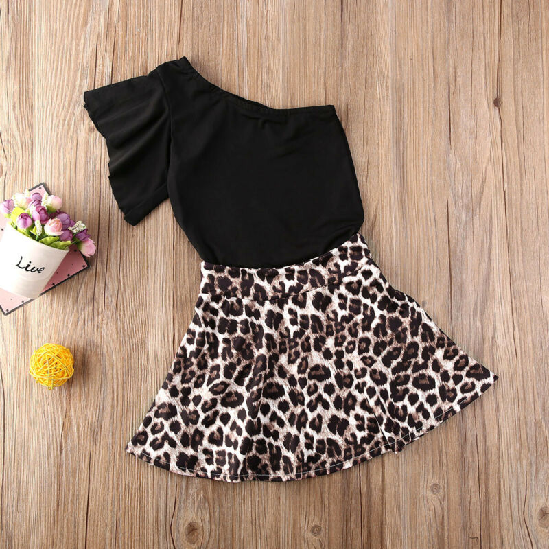 Pudcoco Toddler Baby Girl Clothes Solid Color Short Sleeve Tops Leopard Print Ruffle Skirt 2Pcs Outfits Cotton Clothes