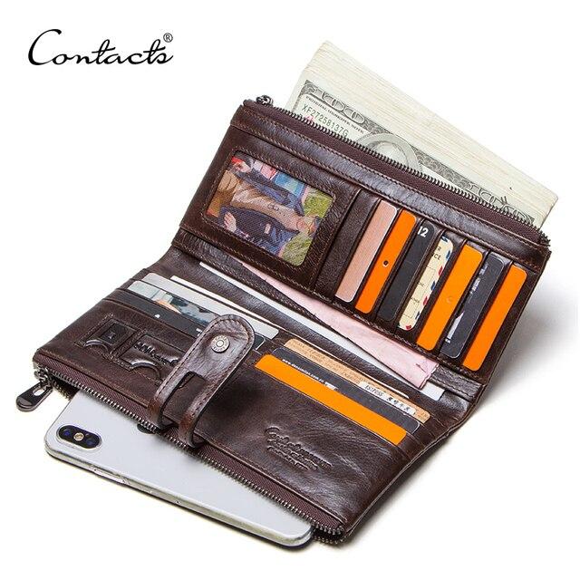 CONTACTS men clutch hot sale genuine leather long wallet male coin purse zipper money bag for iphone8 portemonnee mens walet