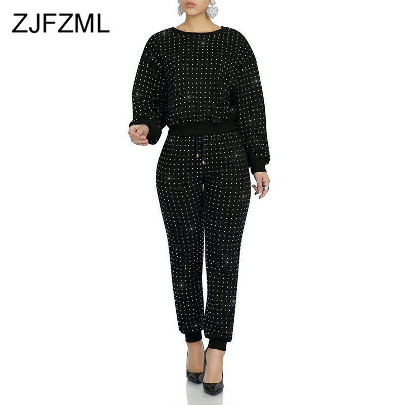 Rhinestones Sexy Two Piece Set Sweatsuit Women O-Neck Long Sleeve T Shirts + Side Pockets Skinny Long Pants Causal Track Suit