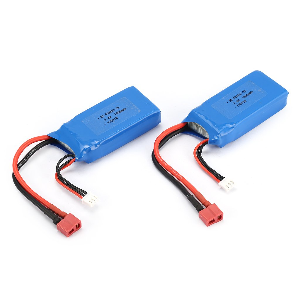 2pcs 7.4V 1500mAh 25C 2S Lipo Battery T Plug Rechargeable For Wltoys 12423 12428 RC Car Airplane Drone Helicopter Model