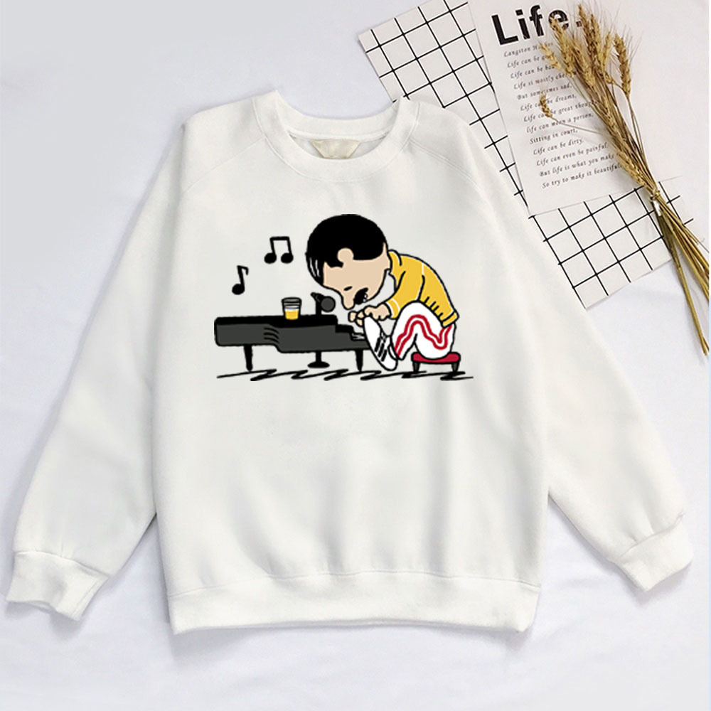 Queen Freddie Mercury Play The Piano Sweatshirt Unisex Queen Freddie Mercury Crewnecks