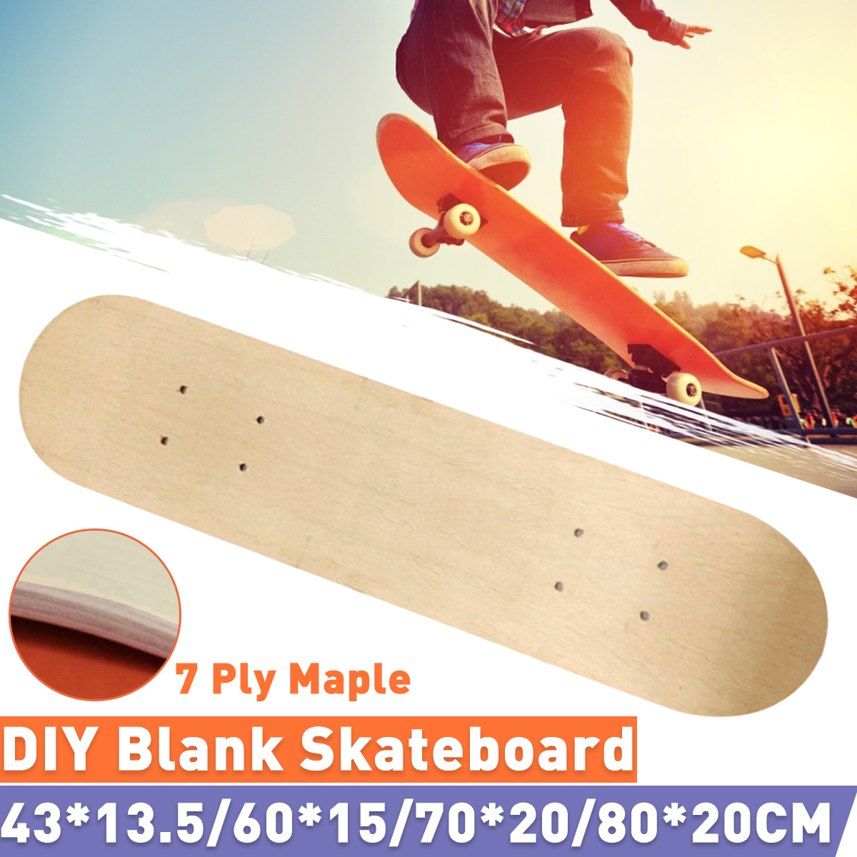 7 Layers Blank Maple Skateboard Double Concave Skateboards Natural Skate Deck Board Skateboards Deck Wood Maple Longboard