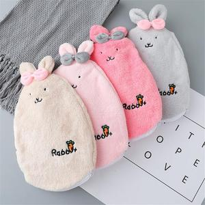 Cartoon Water Injection Hot Water Bottle Explosion-proof Watering Plush Warm Water Bag Hand Warmer with Removable Wash Cloth