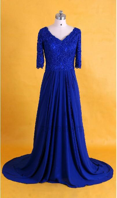 Half Sleeves Blue Chiffon V-neck Evening Formal Prom Gowns 2018 Vestido De Festa Beach Floor-length Mother Of The Bride Dresses