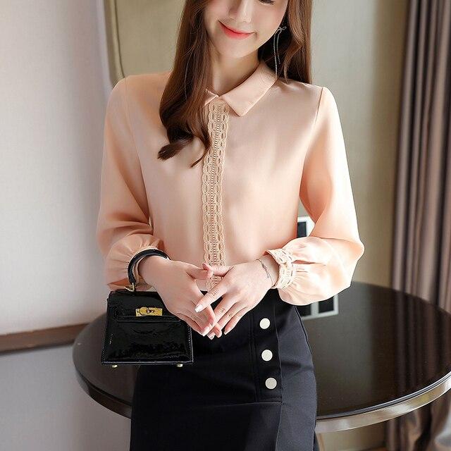 Korean Chiffon Shirts Women Long Sleeve Shirts Woman Solid Blouses Tops Office Lady White Shirt Tops Plus Size Woman Blouse Top 6