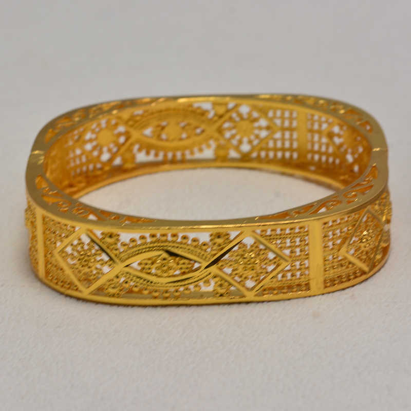 Dubai pulsera de Color dorado para hombres y mujeres Color oro al vacío y brazalete ancho de cobre para mujeres Cadena de mano joyería etíope/Árabe Nigeria