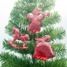 Christmas Tree Hanging Decorations 3 PCS Sequins Pendants Drop Ornaments Holiday Decoration Supplies