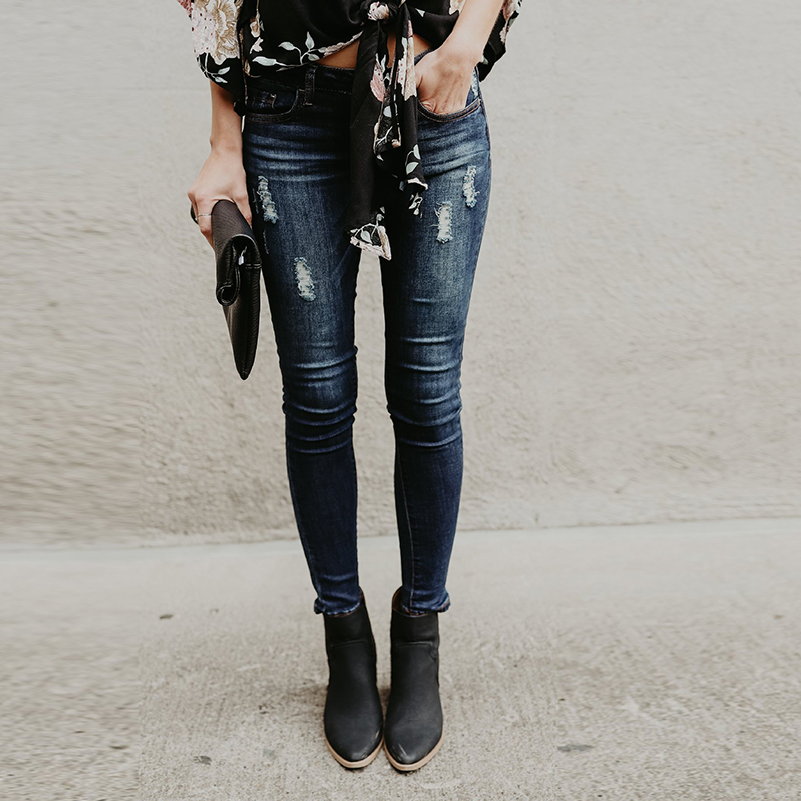 Boyfriend Streetwear Jeans Slim Jeans Girls For Women Cotton 2019 Long Hole Summer Waist Ripped Pants Fall Clothing Denim Mid