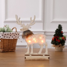 Christmas Wooden Reindeer Glowing Decoration Cute Elk Ornament With Lights Christmas Decoration For Home Window Hotel crew collar christmas sweater with reindeer graphic