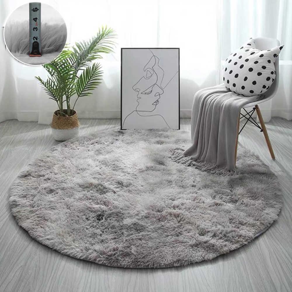 tapis rond epais et moelleux en velours doux pour salon chambre d enfants sol fenetre chevet maison
