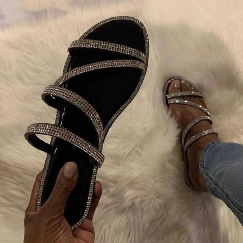 Kadın sandalet yeni rhinestones flip flop 2019 moda vahşi açık seyahat parlak elmas bayanlar plaj terlikleri büyük boy BK041