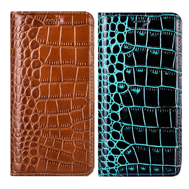 Crocodile Genuine Leather Flip Phone Case For Huawei Y5 Y6 Y7 Y9 Prime 2019 Y9 2018 Cover For Huawei Y5 Y6 Pro 2017 Coque Funda