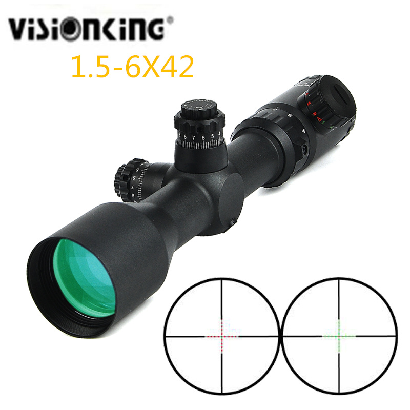 Hunting  Visionking 1.5-6x42 Adiustable Green Red Dot Scopes Optics Sight Tactical Rifle Scope Sights For 223 308 30-06 AR 15