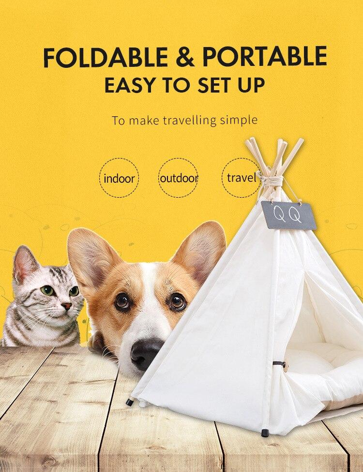 Портативная палатка для собак, домик с вигвам для домашних животных, складная палатка для кошек, питомник для собак, ящик для щенков, кошек, многофункциональная Толстая Подушка для дома|Дома, конуры и манежи|   | АлиЭкспресс