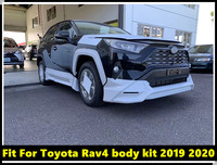 Car Body Kit Front Rear Bumper With Daytime Running Light Side Skirts Fit For Toyota Rav4 2019 2020