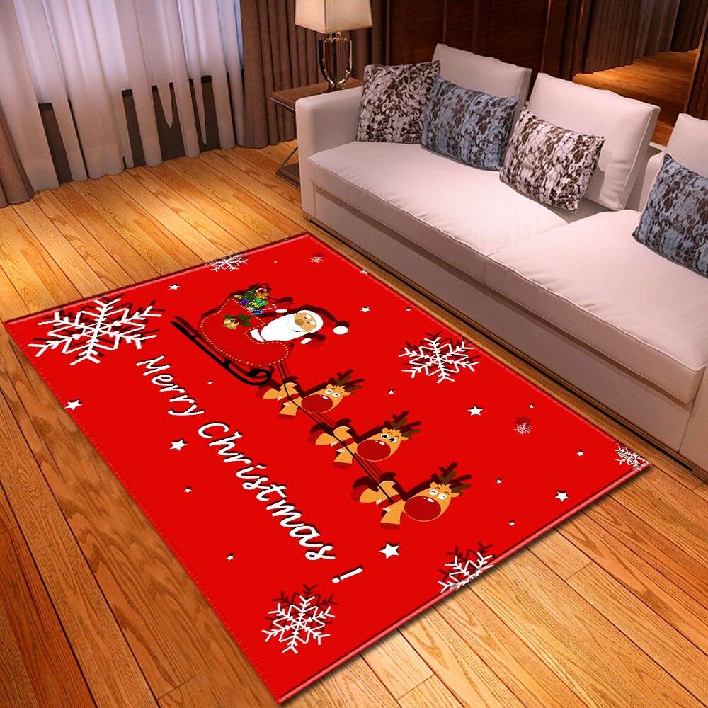Happy Christmas Red Big Carpet Area Rug Dining Table Mats Kids Bedroom Bedside Santa Claus Elk Cartoon Living Room Rug Carpet Carpet Aliexpress