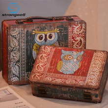 Strongwell Vintage Wooden Storage Box  Pirate Small Trunk for Jewelry Storage,Cards Collection, Gifts and Home Decoration