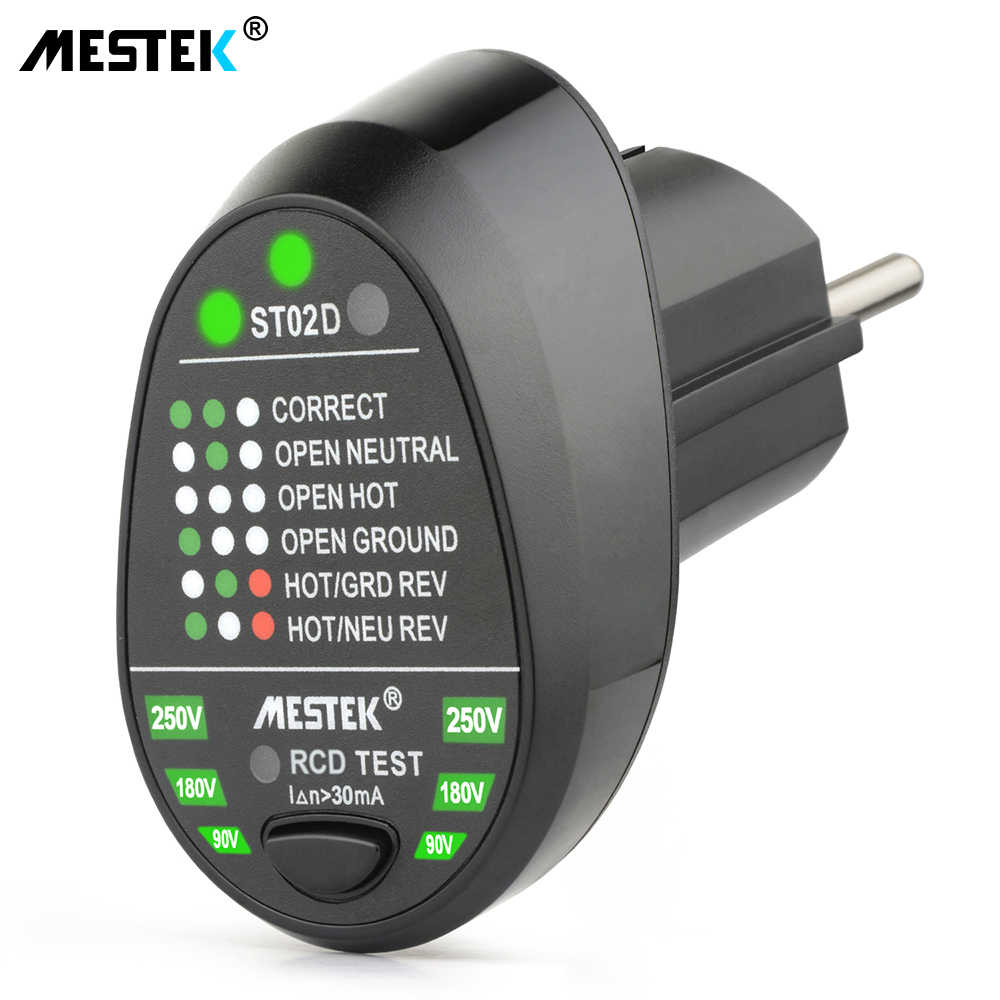 MESTEK ST02 Socket Testers Voltage Test Socket Detector EU/US/UK Plug Ground Zero Lijn Plug Polariteit Fase check Breaker Finder