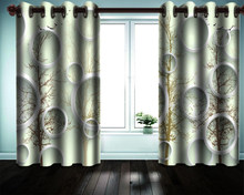 3d Blackout Curtain 3d Modern Curtain Window White Circle Tree Living Room Bedroom Kitchen Window Blackout Curtain(China)