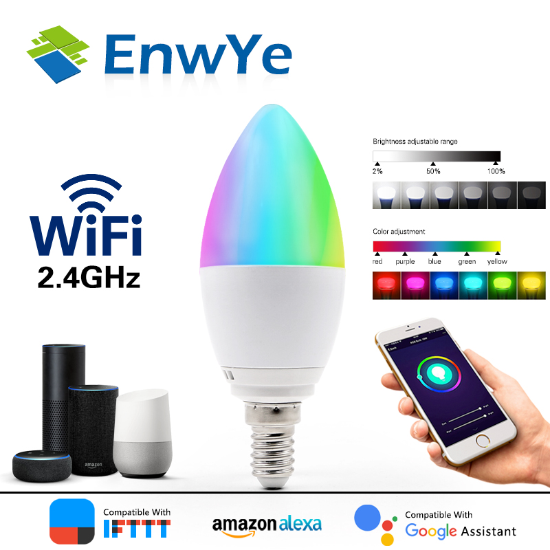 EnwYe WiFi Smart Bulb LED 5W RGB+WW+CW E14 AC 110V 240V Voice Remote App Control work with Alexa Google Home image