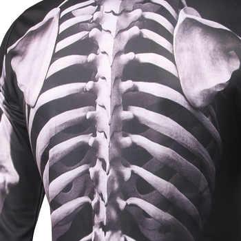 Scary Halloween Costume Tops X-Ray Torso Skeleton 3D Print Men Purim Horror Muscle Shirt Full Sleeves Joking Tee Trick For Adult