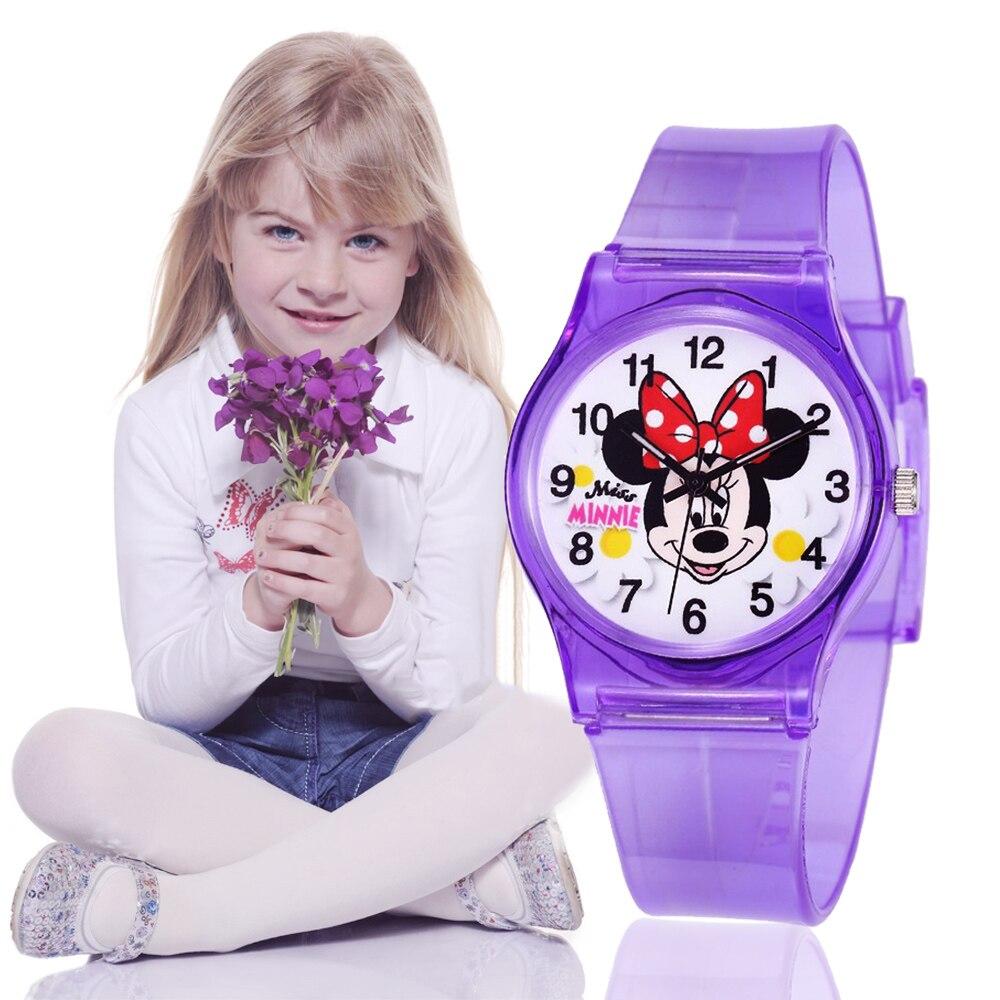 Модные детские часы с Минни Маус, прозрачные силиконовые наручные часы для мальчиков и девочек, милые кварцевые часы для студентов, детские